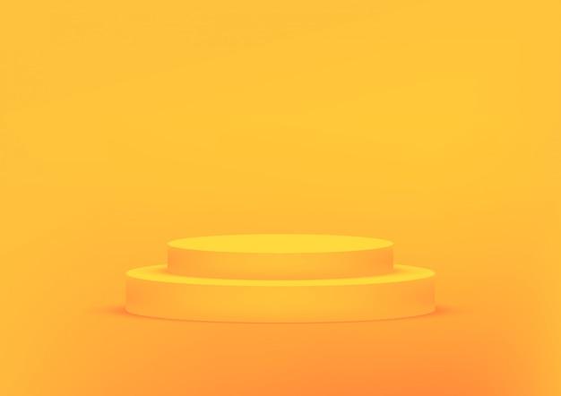 Podio da studio vuoto arancione per la visualizzazione del prodotto