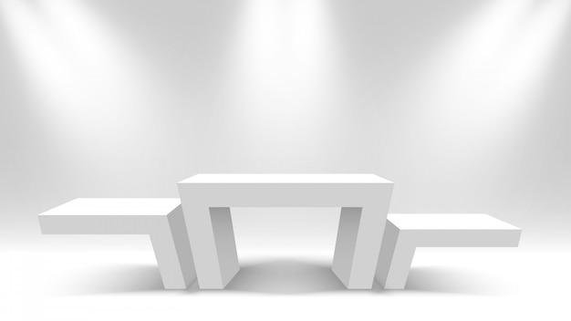 Podio dei vincitori in bianco bianco. piedistallo. illustrazione.