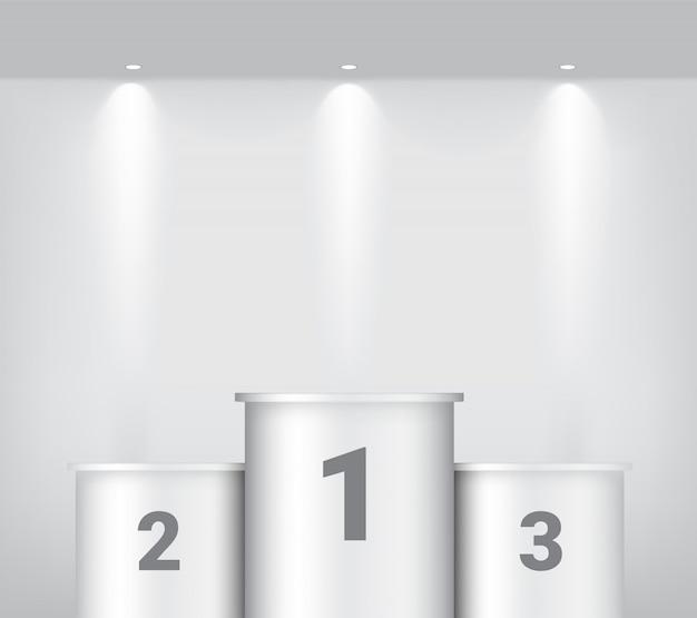 Podio del vincitore bianco con riflettori e ombra o mostra lo sfondo del prodotto. illustrazione di disegno del piedistallo