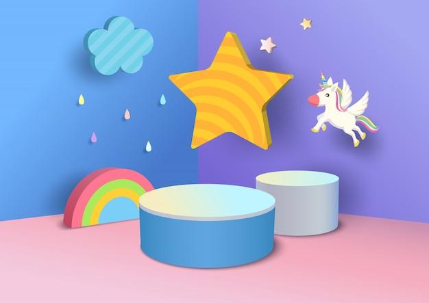 Podio dell'illustrazione decorato con progettazione dell'arcobaleno, della nuvola, della stella e dell'unicorno al fondo di stile 3d per i bambini