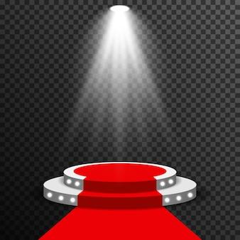 Podio della fase illuminato con il vettore del tappeto rosso trasparente
