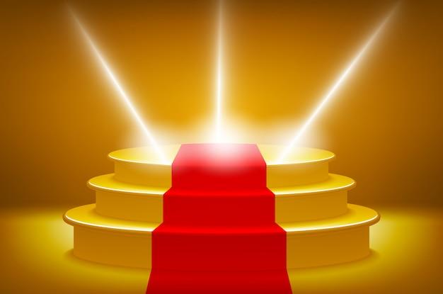 Podio della fase illuminato oro per l'illustrazione di vettore di cerimonia di premiazione, pista del tappeto rosso