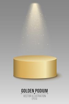 Podio dorato vuoto 3d. primo posto con riflettori e luccichii volanti luminosi.