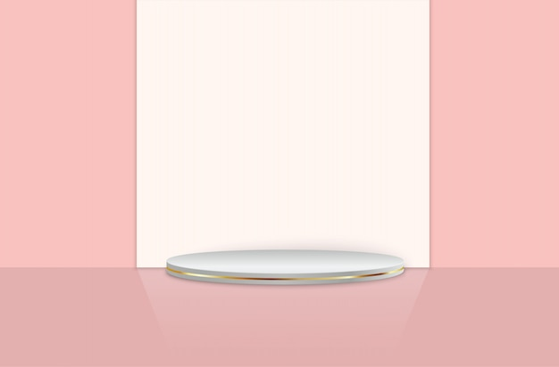 Podio e travi su sfondo rosa studio camera, piedistallo.