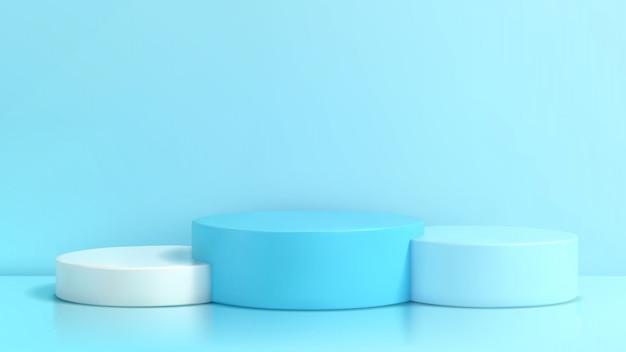 Podio in composizione blu astratta, 3d