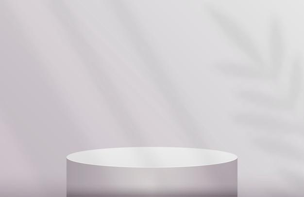 Podio per la presentazione del prodotto in colore grigio pastello con telo ombra