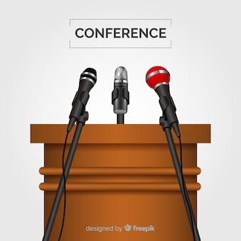 Podio realistico con microfoni per conferenza