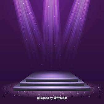 Podio realistico sul palco con un elegante lampo