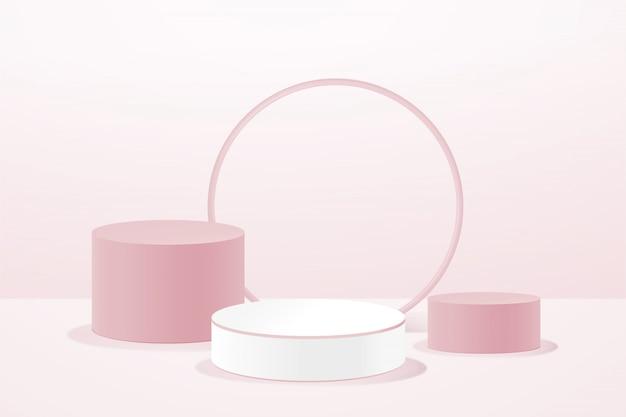 Podio rosa geometrico 3d per l'inserimento di prodotti, composizione astratta in moderno