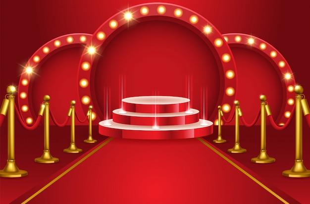 Podio rotondo astratto con tappeto bianco illuminato con riflettori. concetto di cerimonia di premiazione. palcoscenico. illustrazione vettoriale