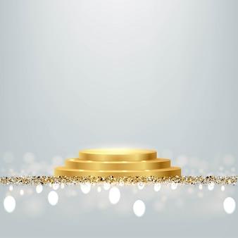 Podio rotondo del premio d'oro con glitter lucido e scintillii isolati