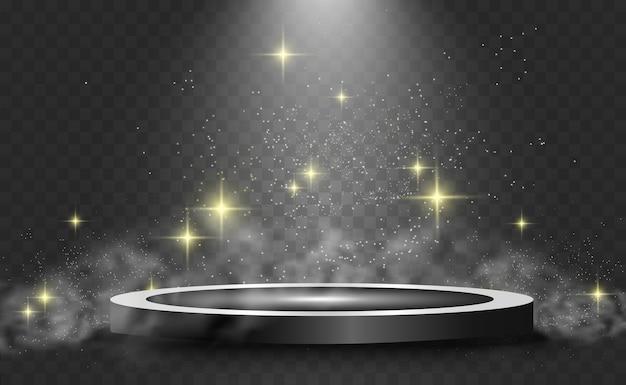 Podio rotondo, piedistallo o piattaforma, illuminato da faretti sullo sfondo. illustrazioni. podio con fumo. luce luminosa. fumo.