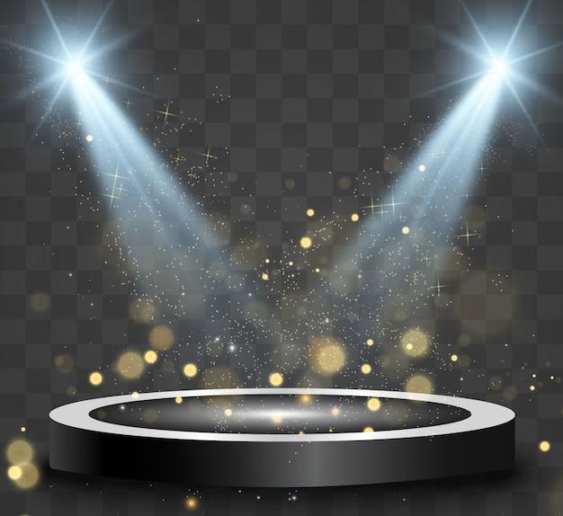 Podio rotondo, piedistallo o piattaforma, illuminato da faretti sullo sfondo. luce luminosa. luce dall'alto.
