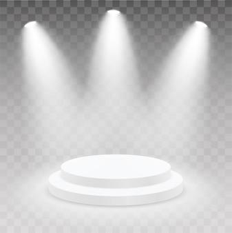 Podio rotondo realistico con luce e lampada. piedistallo showroom. podio 3d, piedistallo del palcoscenico o piattaforma illuminata dalla luce su sfondo isolato