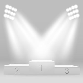 Podio sportivo illuminato bianco.