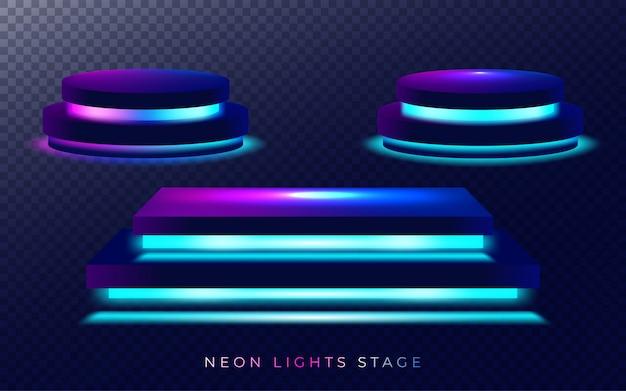 Podio sul palco con illuminazione, scena sul podio sul palco. illustrazione