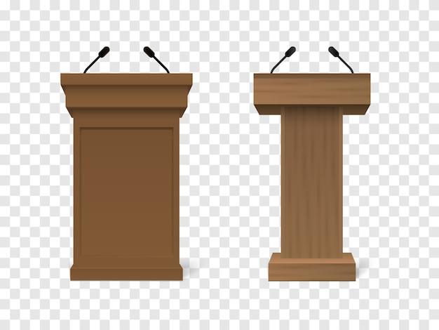 Podio tribune tribuna rostro in legno vettoriale con microfoni