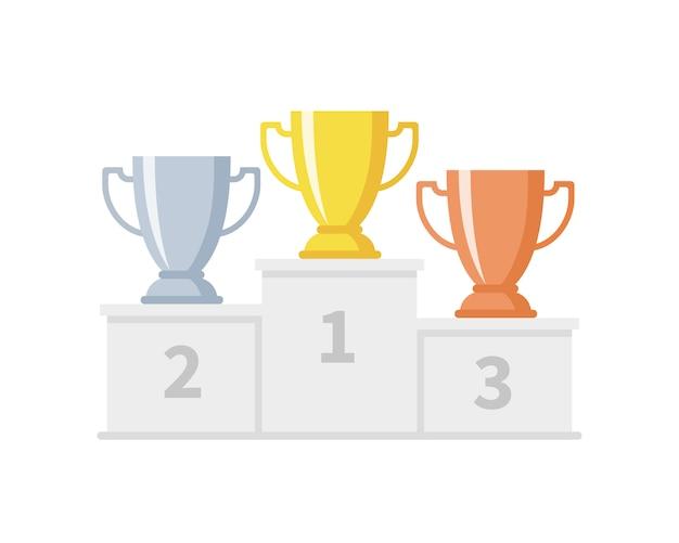 Podio vincitore con coppe trofeo. calici in oro, argento e bronzo su piedistallo sportivo. concorrenza e raggiungimento degli obiettivi
