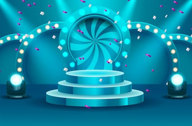 Podio vuoto del vincitore di sport illuminato dall'illustrazione di vettore dei proiettori. palco vuoto con proiettore illuminato. illustrazione vettoriale