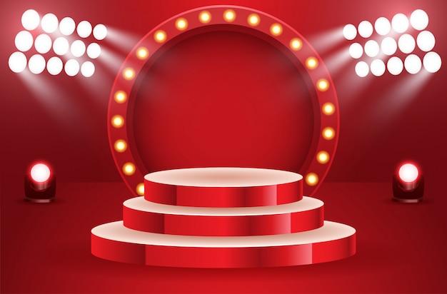 Podio vuoto del vincitore di sport illuminato dall'illustrazione di vettore dei proiettori. palco vuoto con proiettore illuminato. sfondo