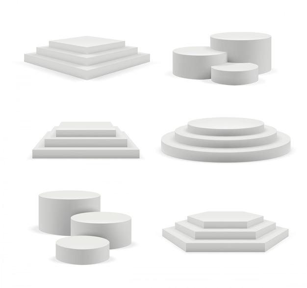 Podio vuoto. le fasi espositive pubblicizzano un podio bianco realistico