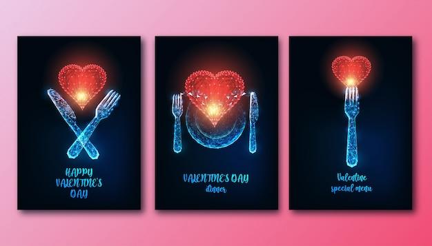 Poeters futuristici per la cena di san valentino con coltello poli basso incandescente, forchetta, piatto e cuore rosso.