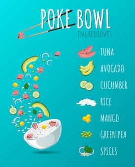 Poke hawaiian tuna bowl con verdure e verdure.