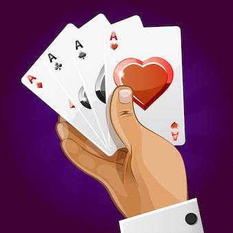 Poker carte da gioco in mano