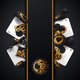 Poker da casinò. concetto di caduta del gioco di carte e fiches da poker. priorità bassa fortunata del casinò isolata.