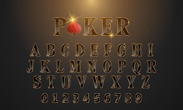 Poker di testo modello dorato carattere nero.