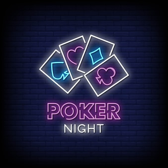 Poker night neon signs style text
