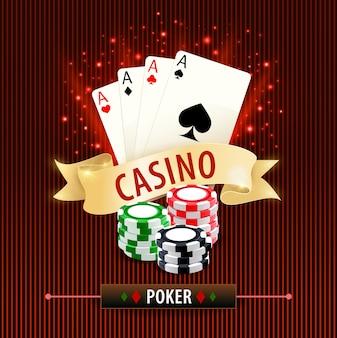 Poker online, banner di giochi d'azzardo con carte