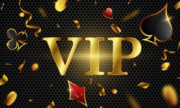 Poker vip invito vip di lusso con coriandoli celebration party gambling banner background.