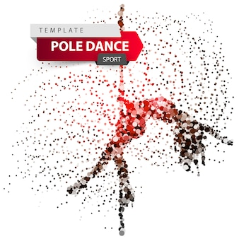 Pole dance, exotic, striptease - dot illustration
