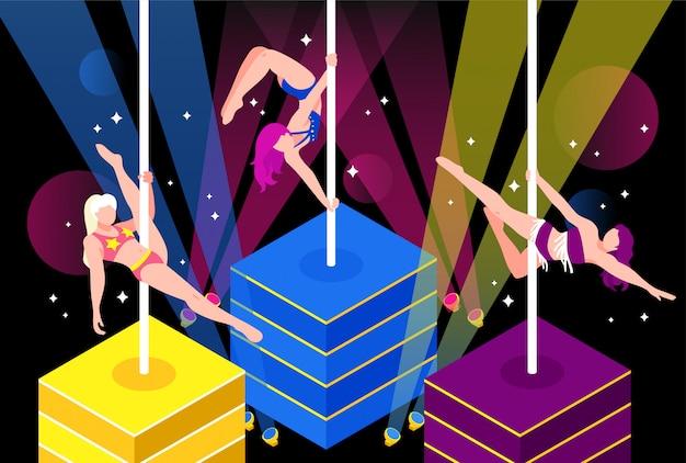Pole dance performance illustrazione