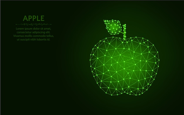 Poli design basso di apple, illustrazione poligonale di vettore della maglia del wireframe della frutta