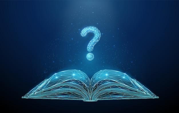 Poli libro aperto basso astratto con il fondo del punto interrogativo