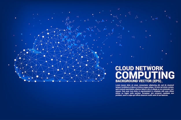 Poligono di concetto di rete cloud computing