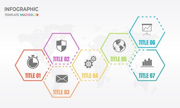 Poligono infografica modello 7 opzioni