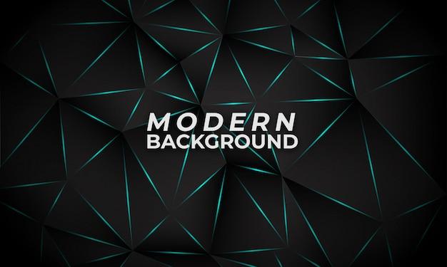 Poligono moderno sfondo scuro con linea di luce blu