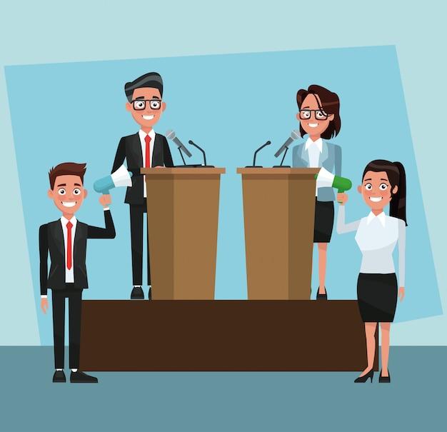 Politico che parla con il microfono nei cartoni animati della campagna