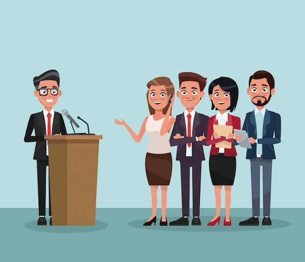 Politico parlando nel cartone animato della campagna