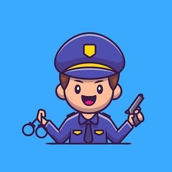 Polizia con manette e pistola icona del fumetto illustrazione. persone professione icona concetto isolato. stile cartone animato piatto