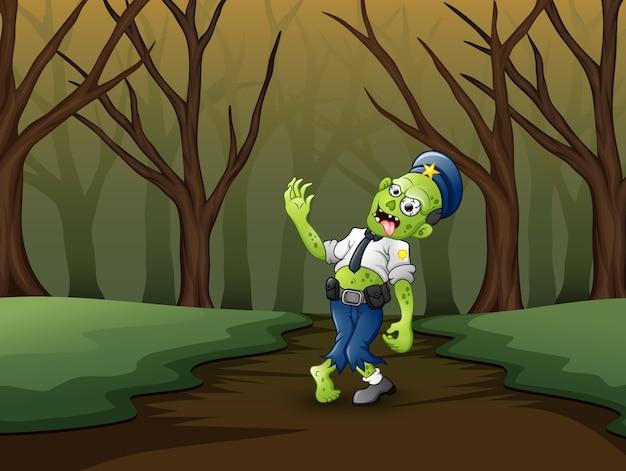 Polizia di zombie cartoon al lato del tunnel