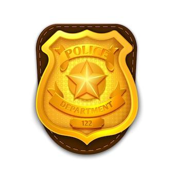 Polizia realistica d'oro, distintivo detective con scudo