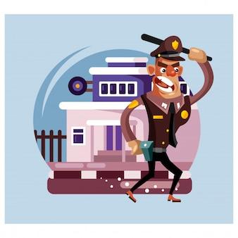 Poliziotto arrabbiato davanti al personaggio dei cartoni animati della stazione di polizia