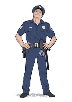 Poliziotto contento in uniforme. forma blu. poliziotto fiducioso. uomo sicuro di sé in uniforme blu. il ragazzo con il berretto. felice poliziotto. carattere forte. cattura i criminali.