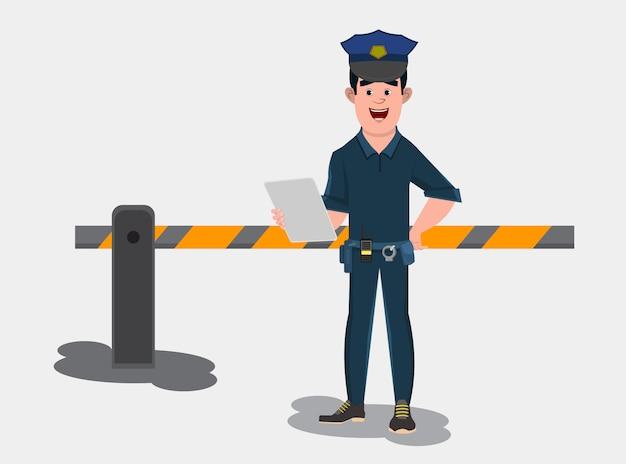 Poliziotto di guardia all'ingresso di un cancello e controllare l'elenco.