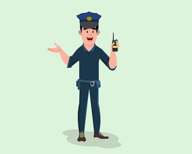 Poliziotto in servizio e parlando con waki taki.