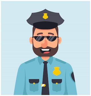 Poliziotto maschio con i vetri che sorride in uniforme blu.